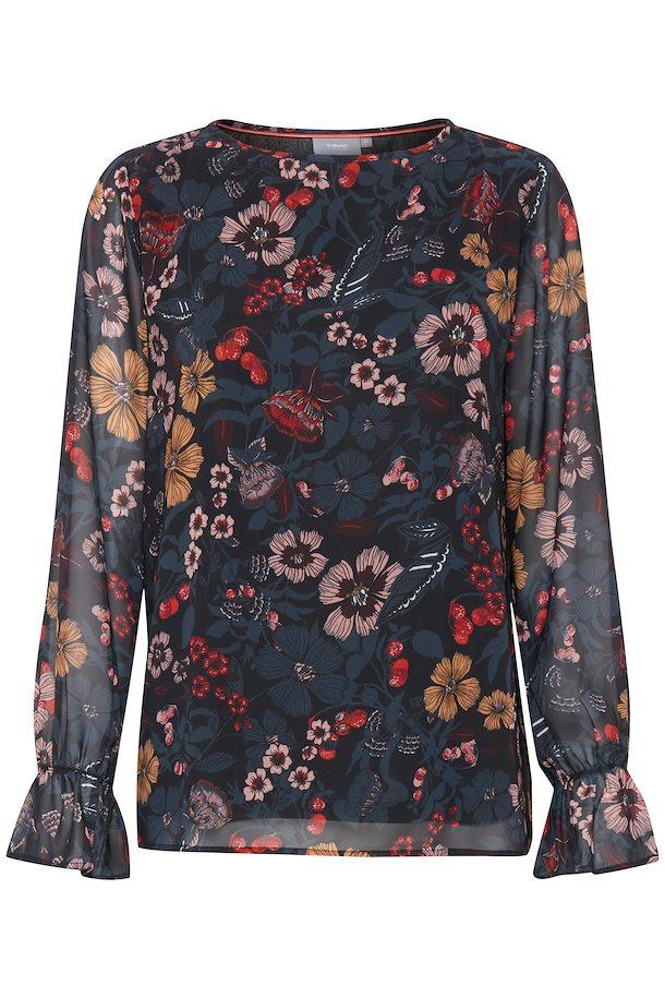 c54f5f697336 Black COMBI 1 print Langærmet bluse fra b.young – Køb Black COMBI 1 print  Langærmet bluse fra str.