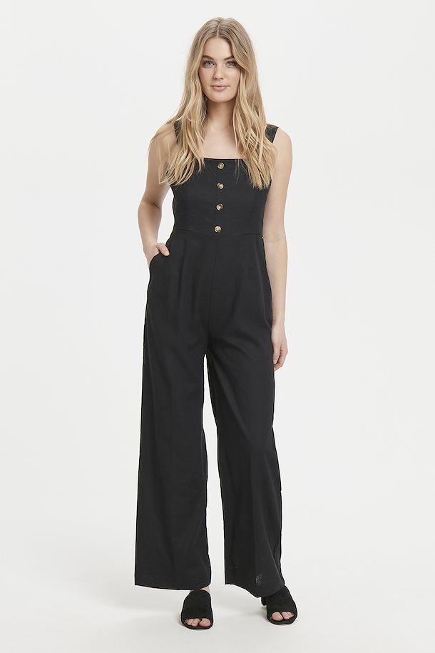 6340930f8745ad Black Linen Jumpsuit von b.young – Kaufen Sie Black Linen Jumpsuit aus Größe  34-42 hier