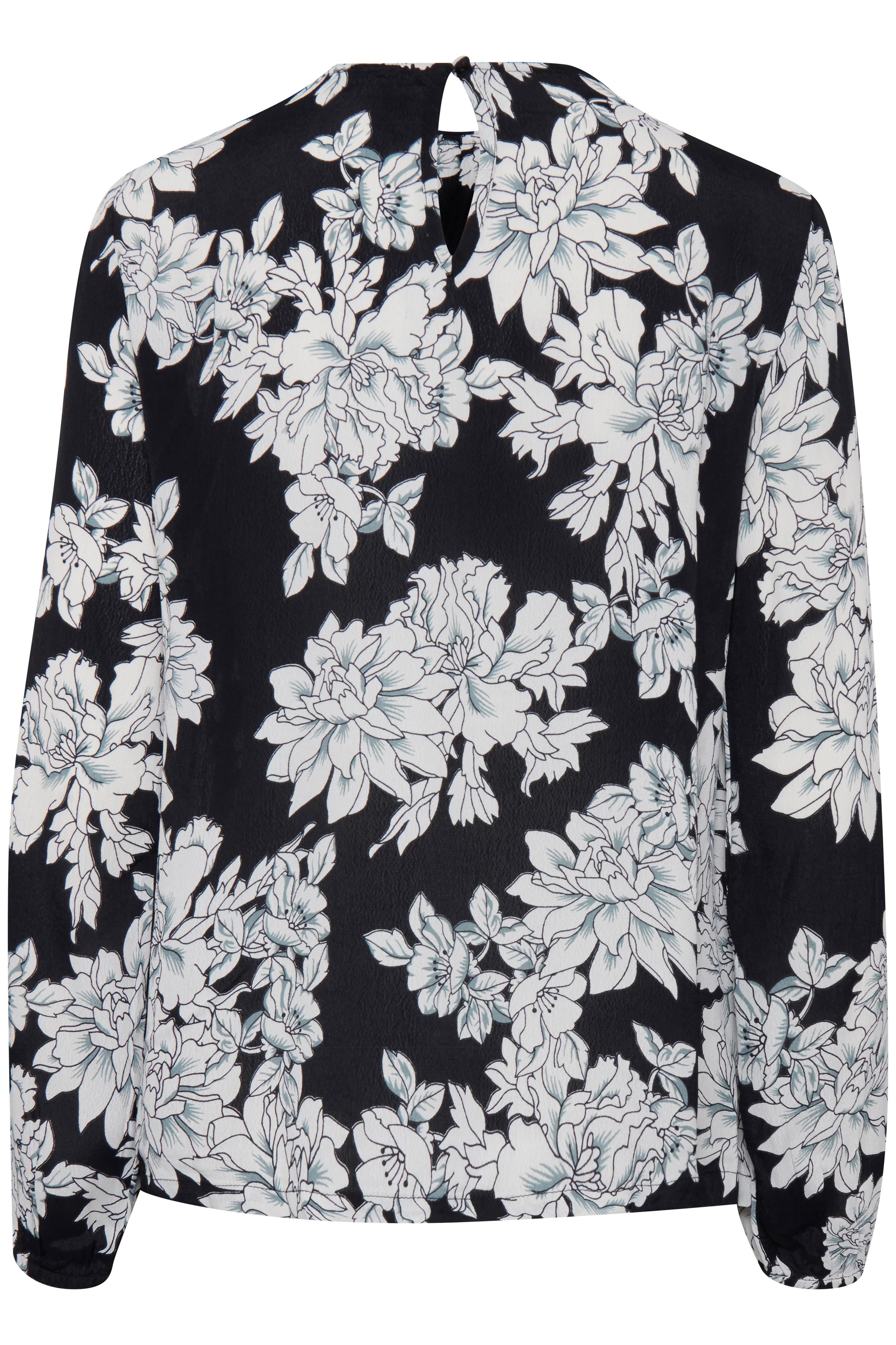Black w. off white flowers Langærmet bluse fra b.young – Køb Black w. off white flowers Langærmet bluse fra str. 36-46 her
