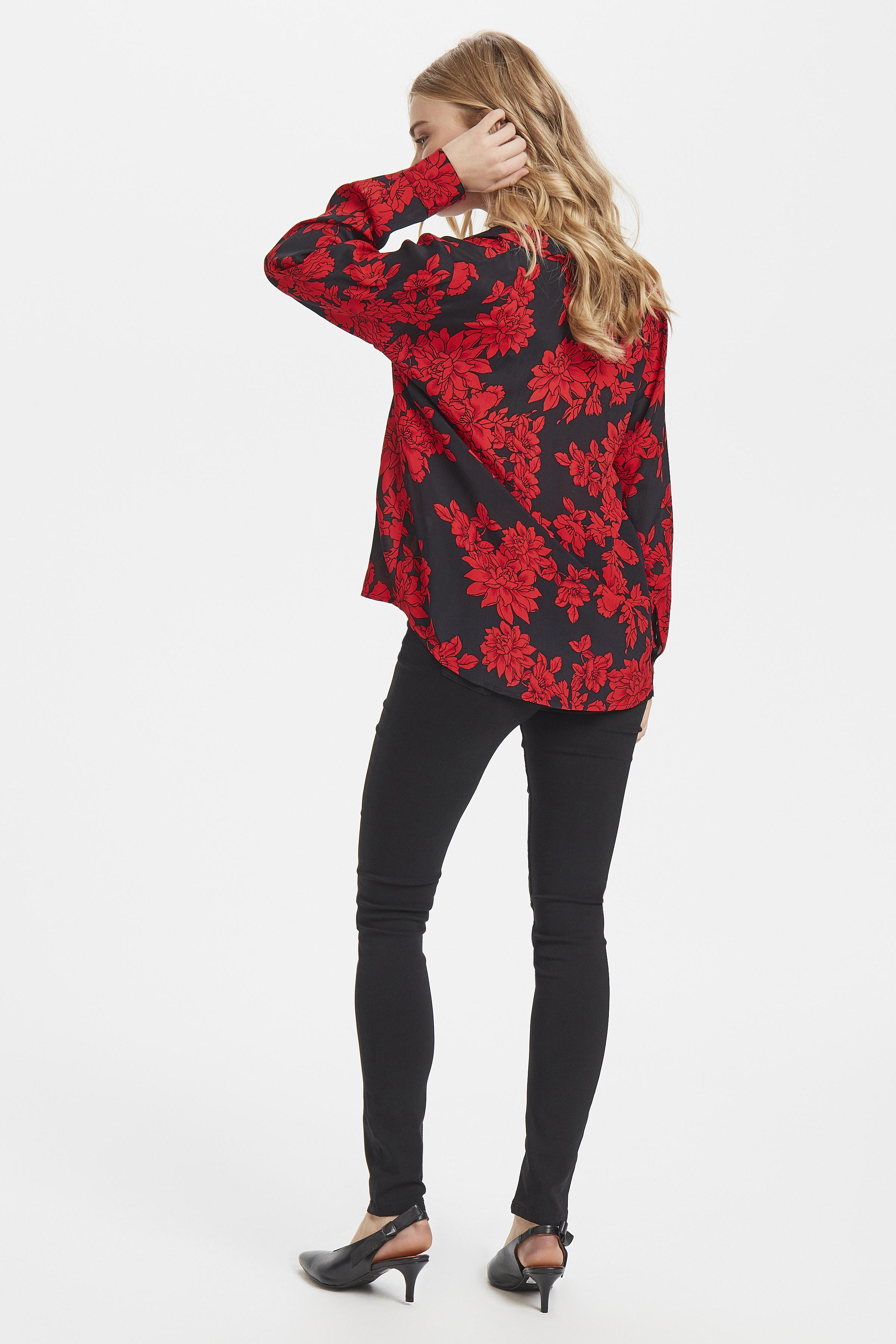 Black w. red flower Langermet skjorte fra b.young - Kjøp Black w. red flower Langermet skjorte fra størrelse 36-44 her