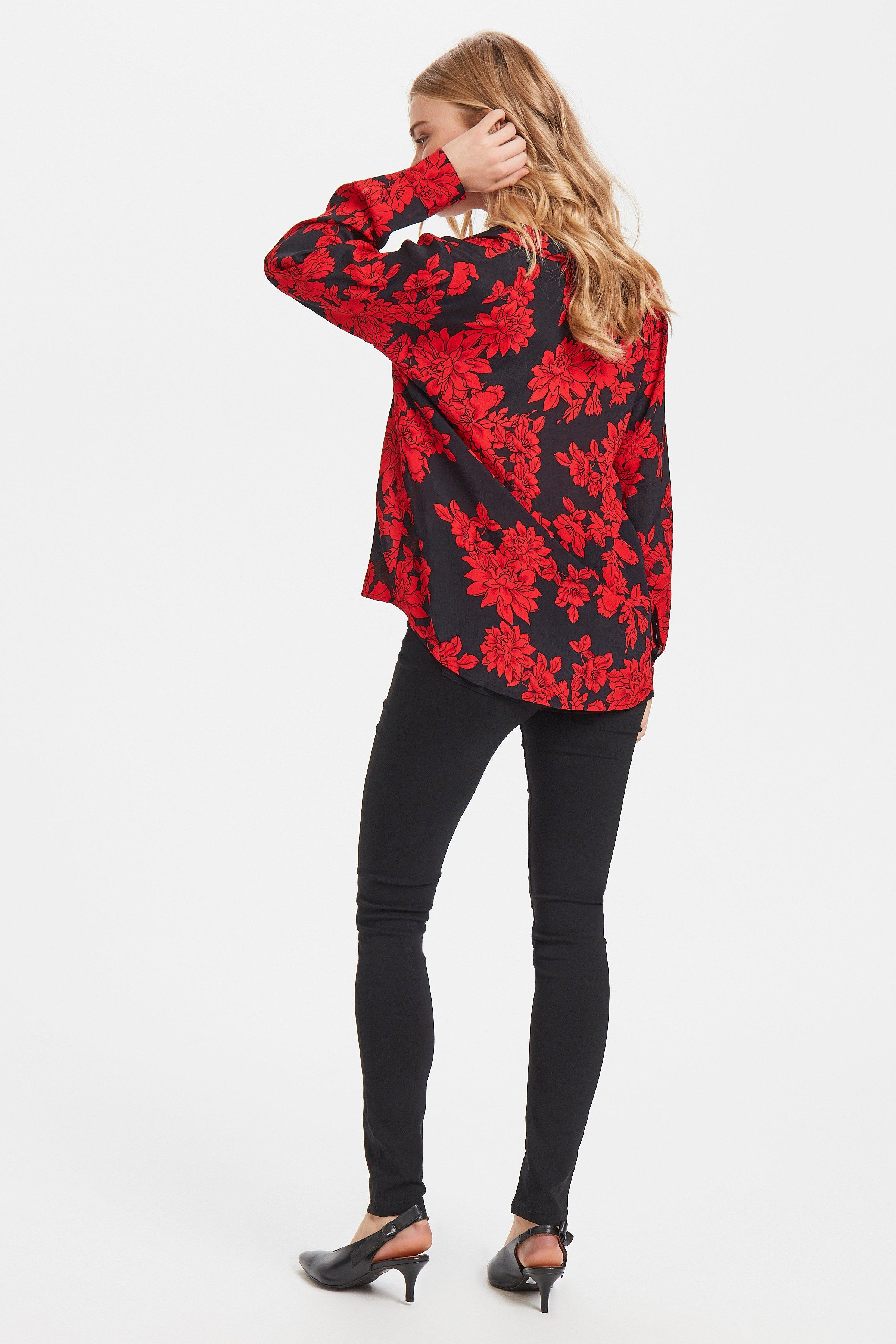 Black w. red flower Overhemd met lang mouwen van b.young – Koop Black w. red flower Overhemd met lang mouwen hier van size 36-44