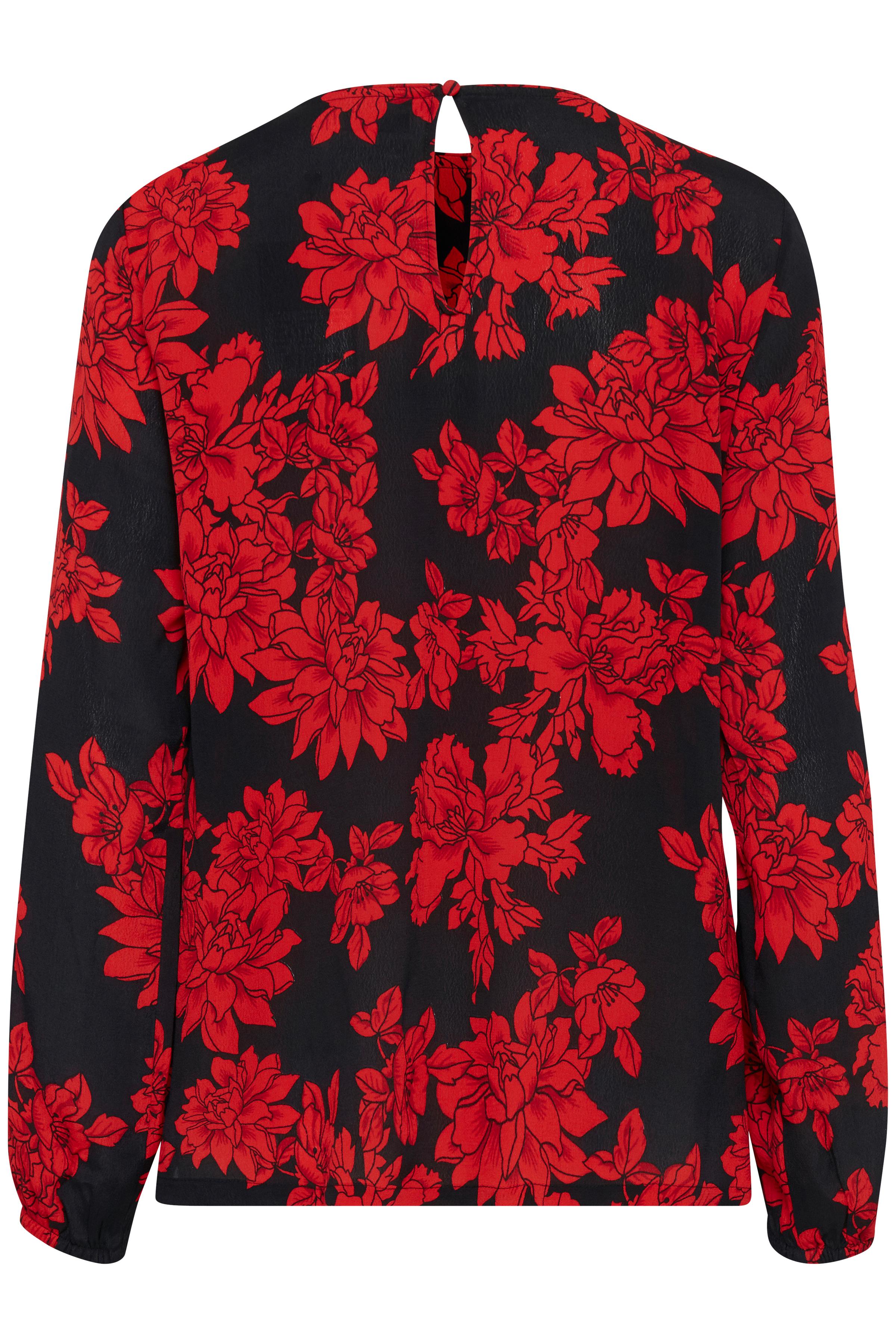 Black w. red flowers Blouse met lange mouwen van b.young – Koop Black w. red flowers Blouse met lange mouwen hier van size 36-46