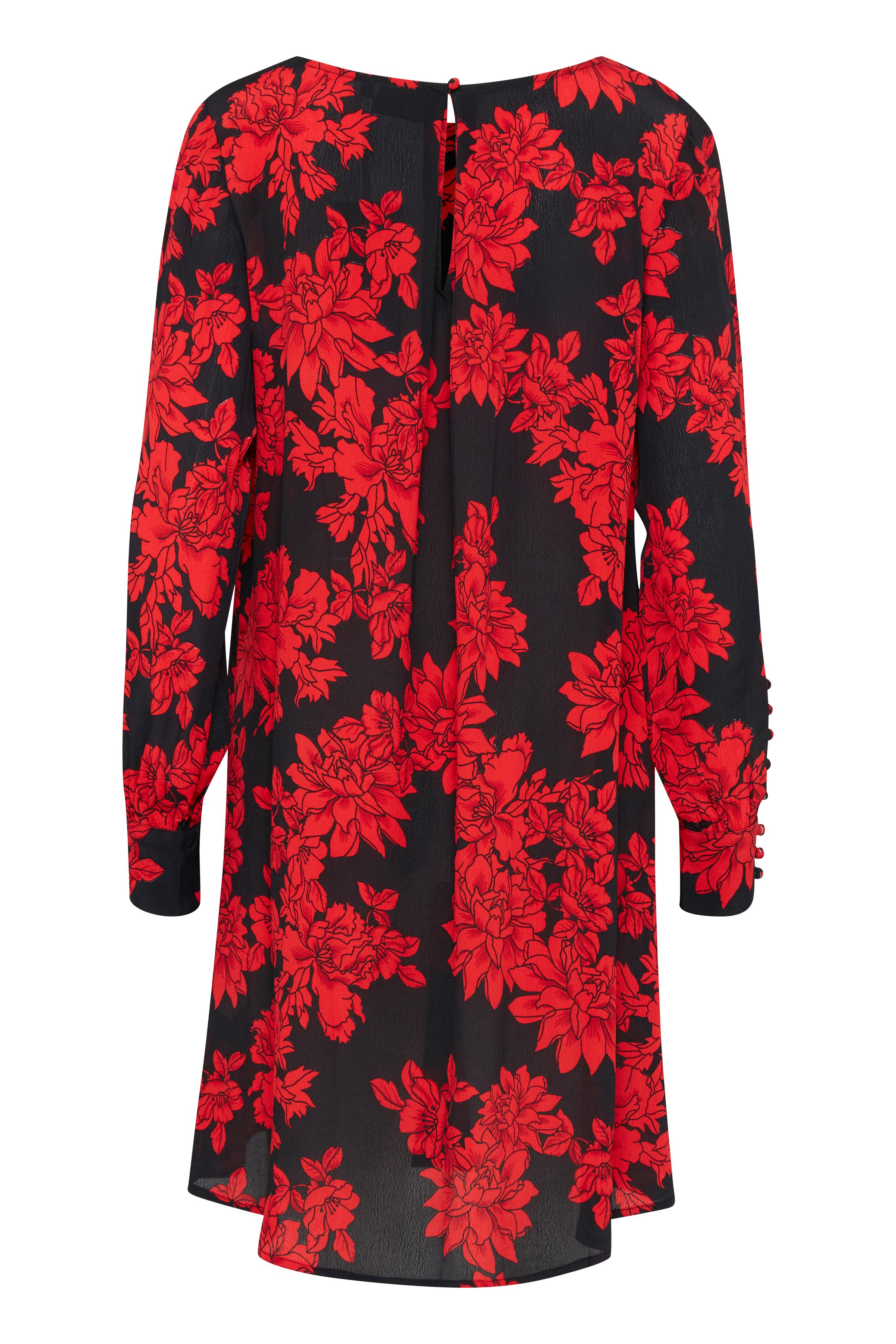 Black w. red flowers Jurk van b.young – Koop Black w. red flowers Jurk hier van size 36-44