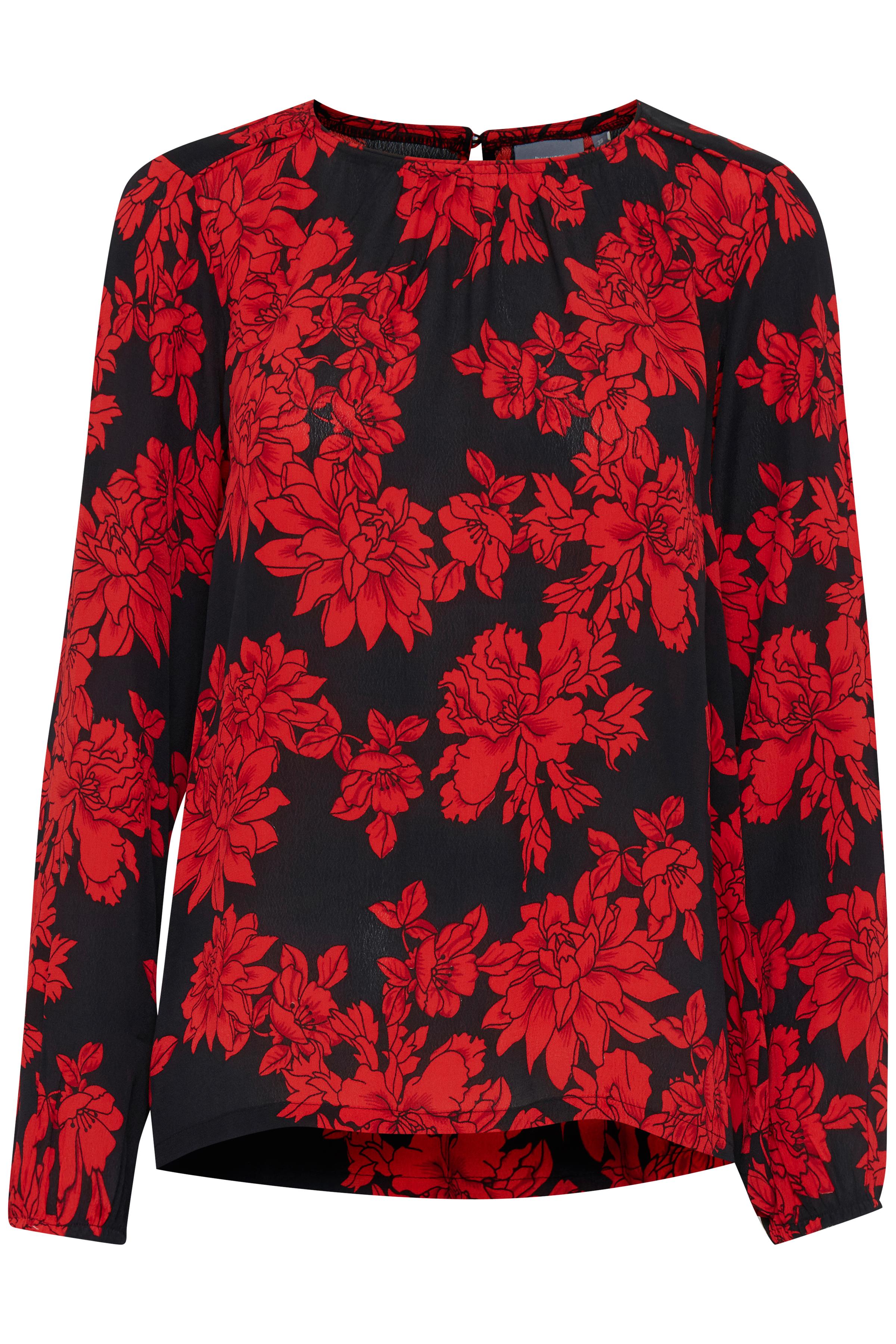 Black w. red flowers Långärmad blus från b.young – Köp Black w. red flowers Långärmad blus från storlek 36-46 här