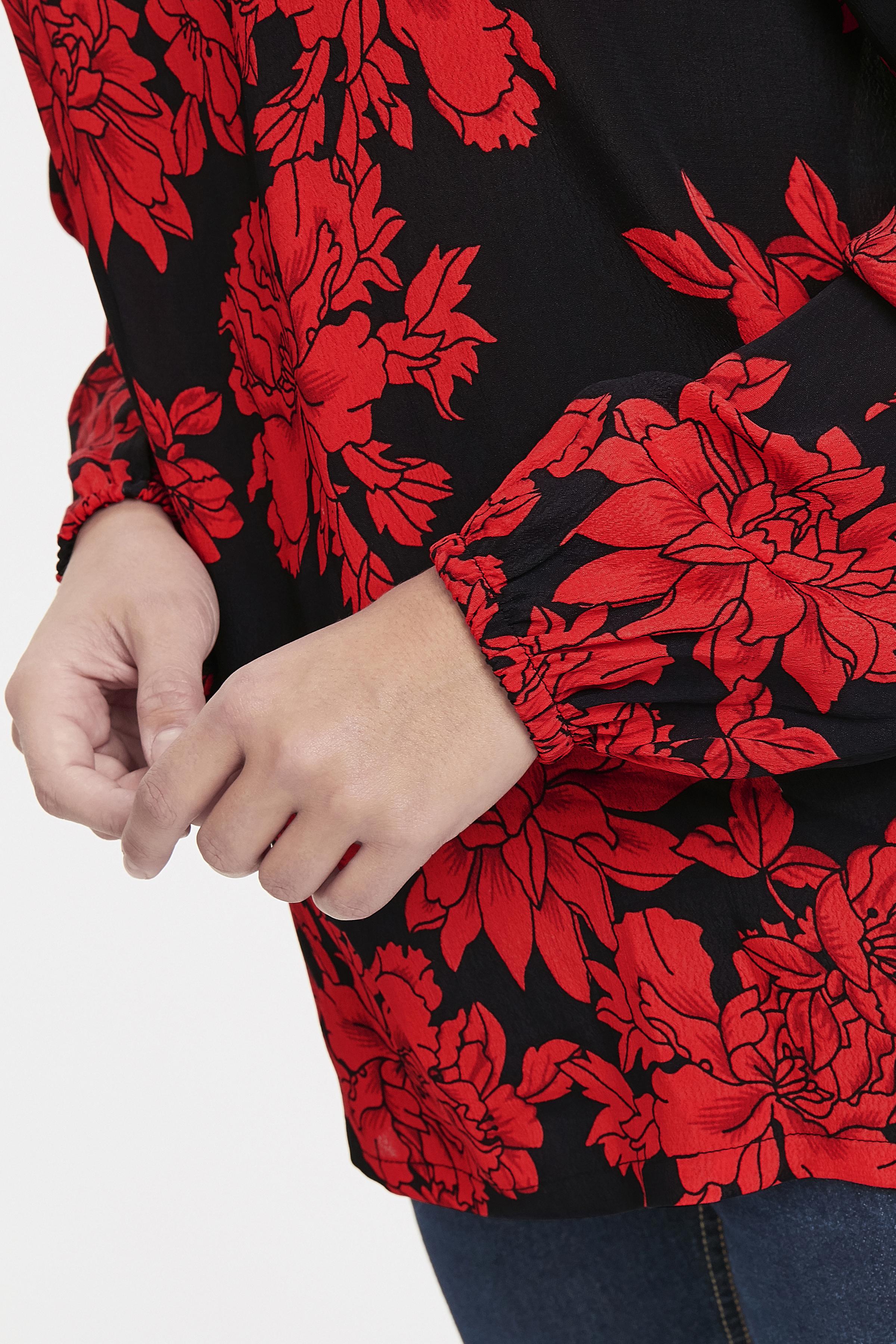 Black w. red flowers Langærmet bluse fra b.young – Køb Black w. red flowers Langærmet bluse fra str. 36-46 her