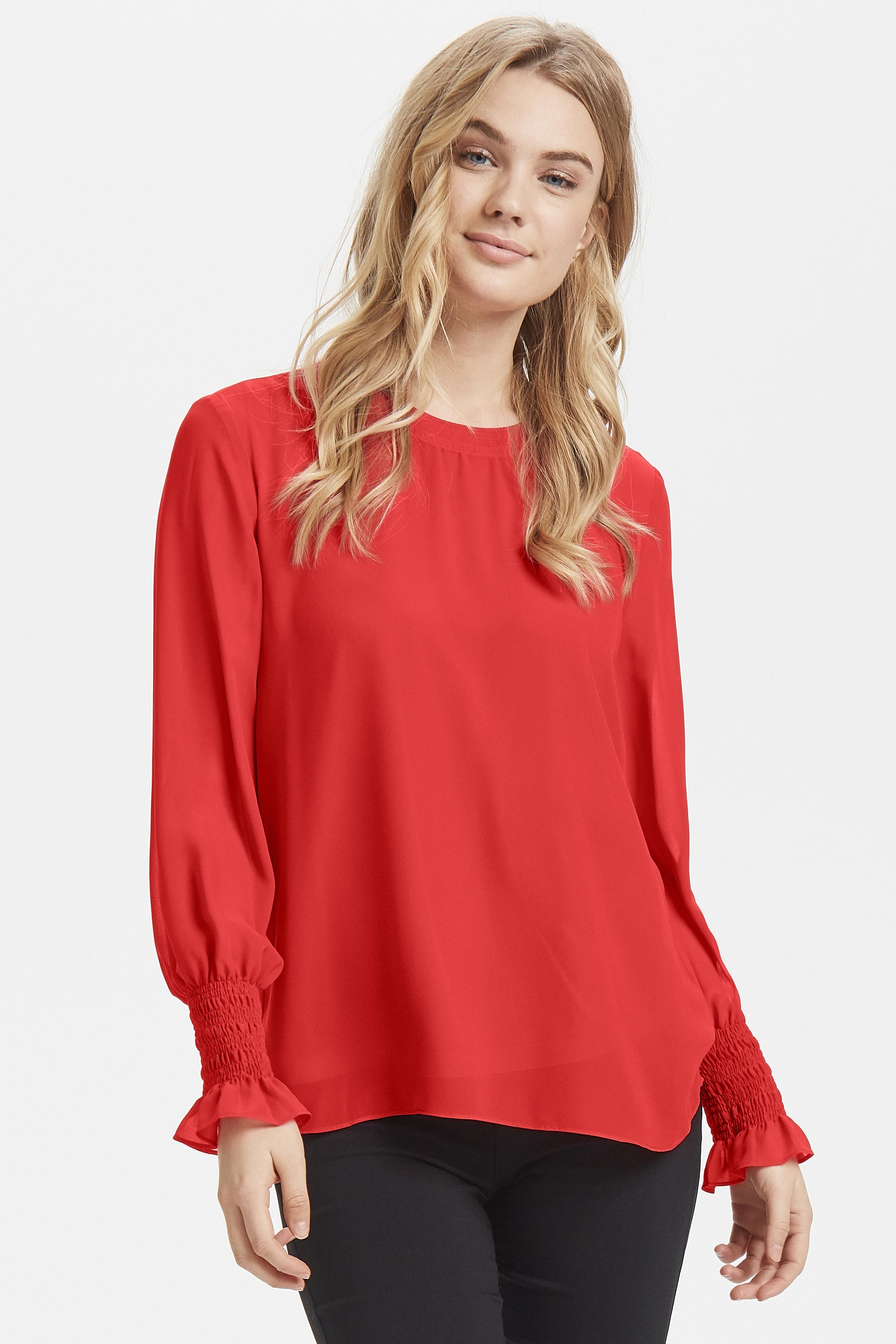 Chinese Red Langærmet bluse fra b.young – Køb Chinese Red Langærmet bluse fra str. 34-42 her