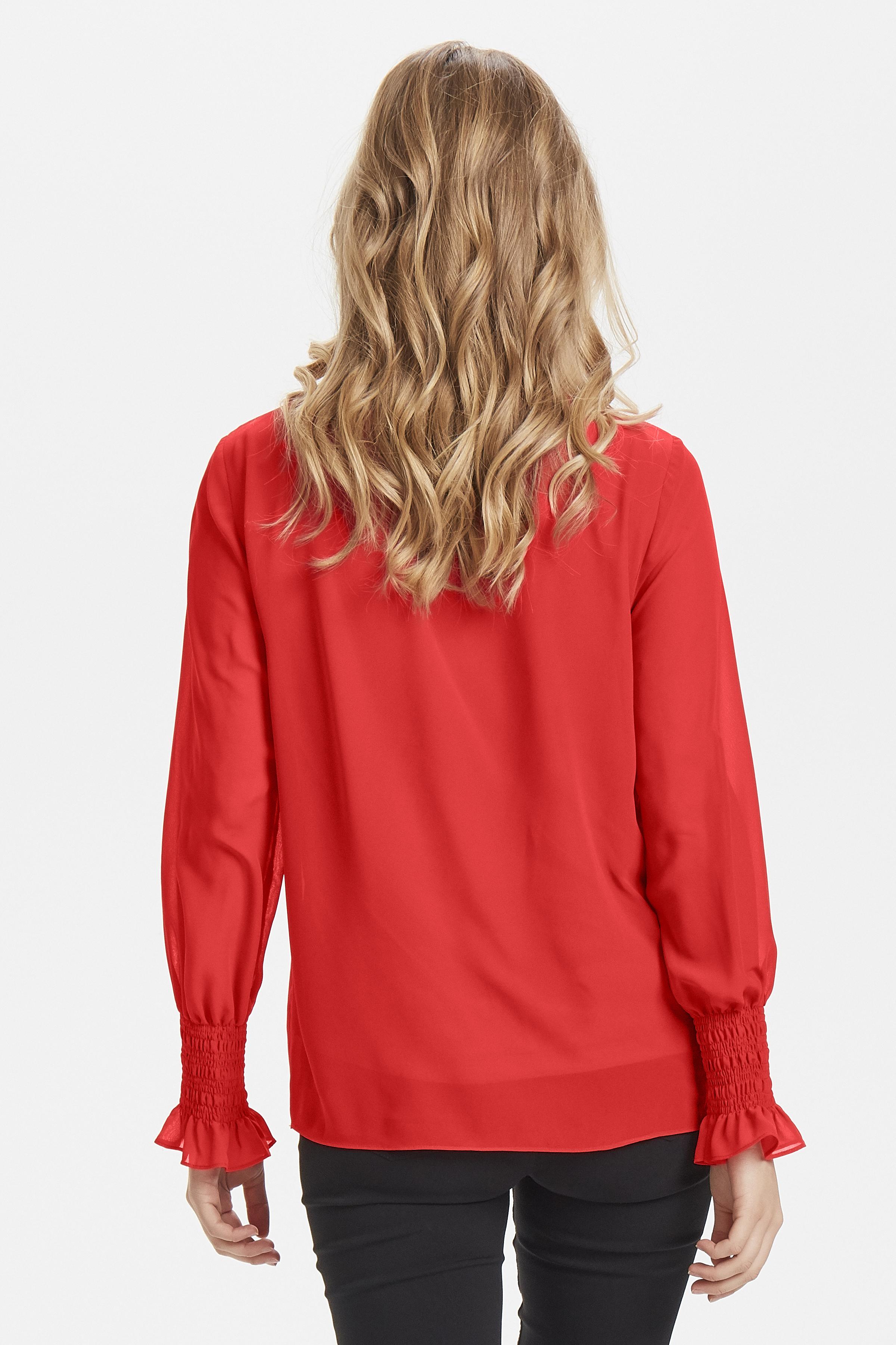 Chinese Red Langermet bluse fra b.young - Kjøp Chinese Red Langermet bluse fra størrelse 34-42 her