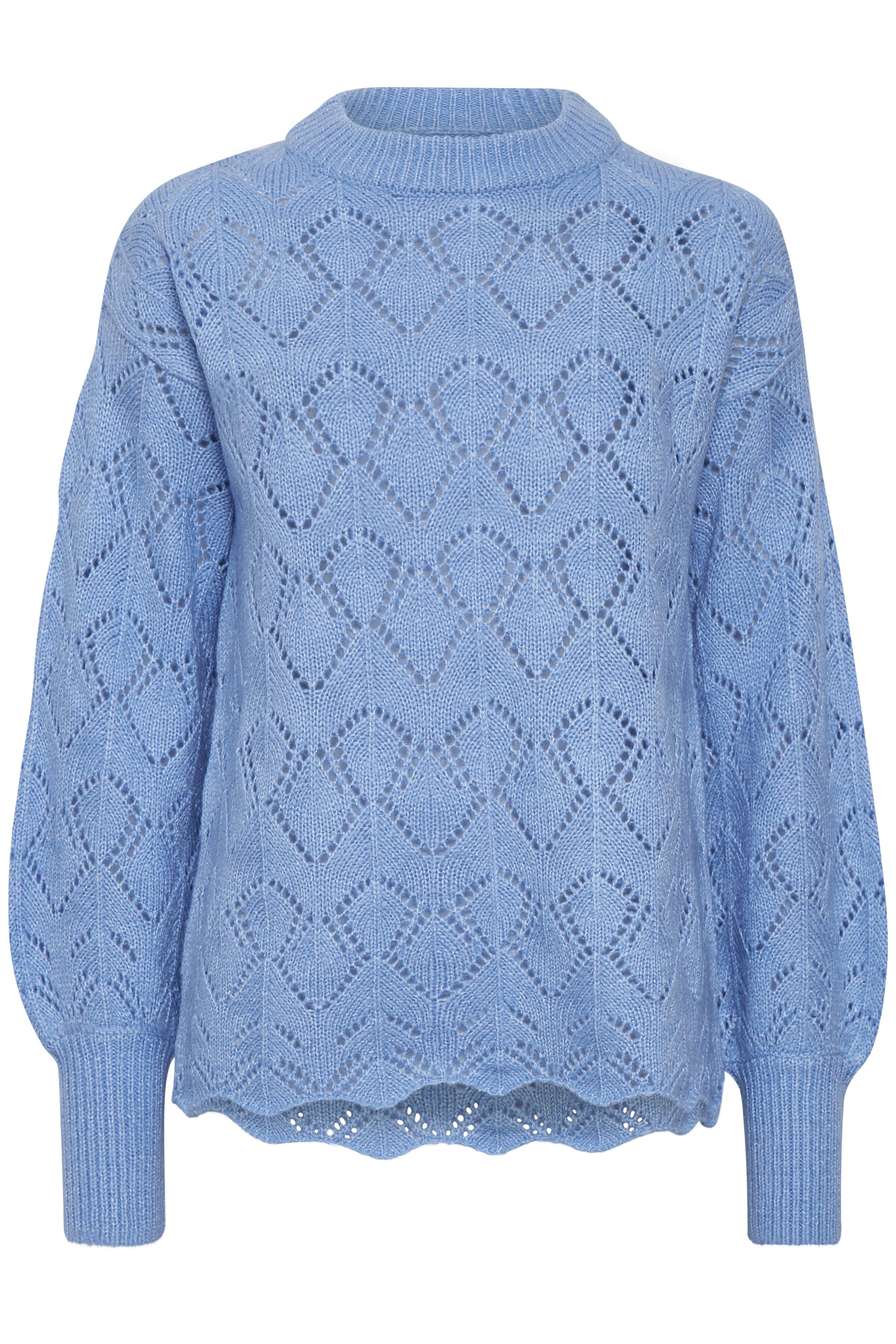 Cornflower Blue Mel. Strikket pullover fra b.young - Kjøp Cornflower Blue Mel. Strikket pullover fra størrelse XS-XXL her