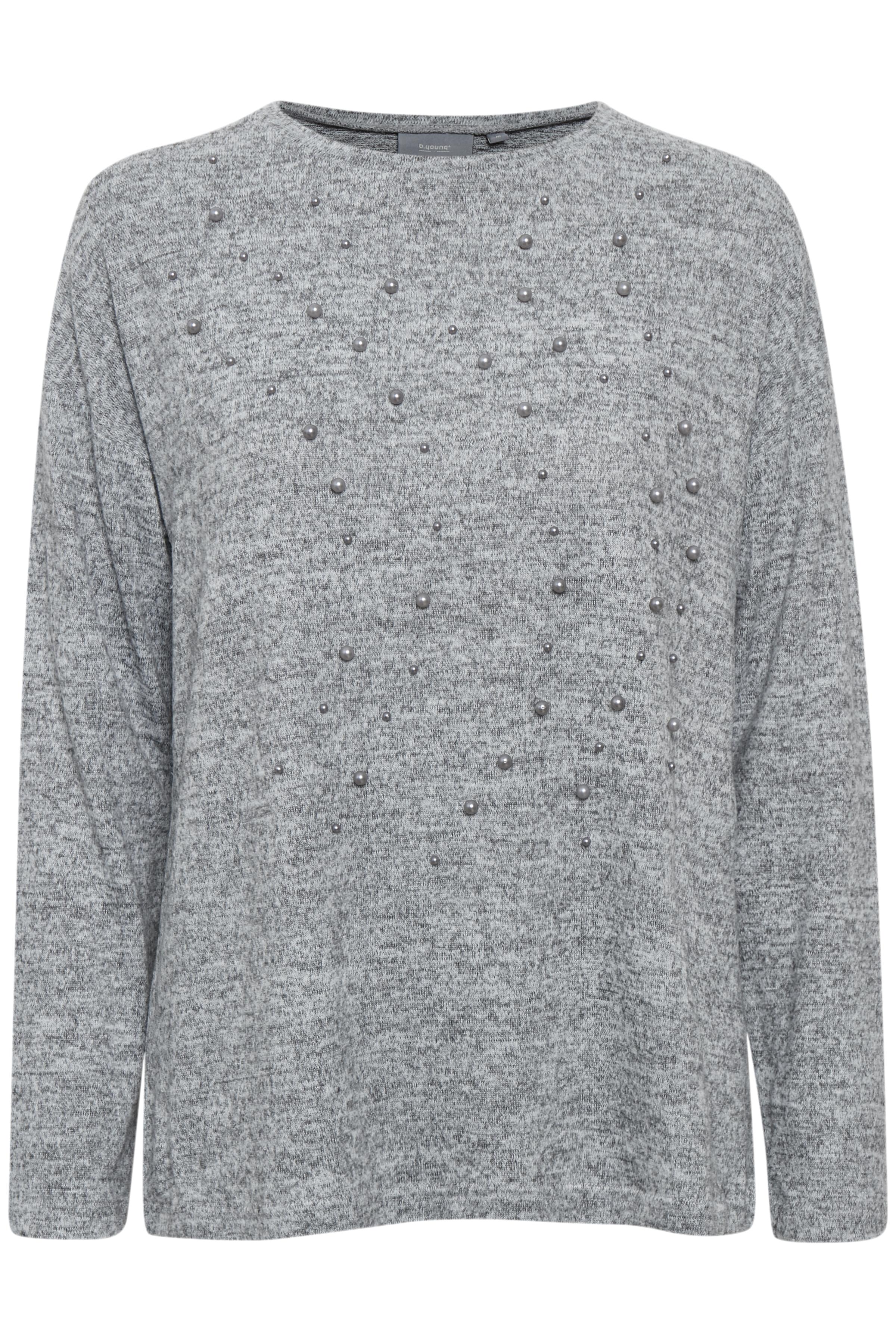Med. Grey Mel. Langærmet bluse fra b.young – Køb Med. Grey Mel. Langærmet bluse fra str. XS-XXL her